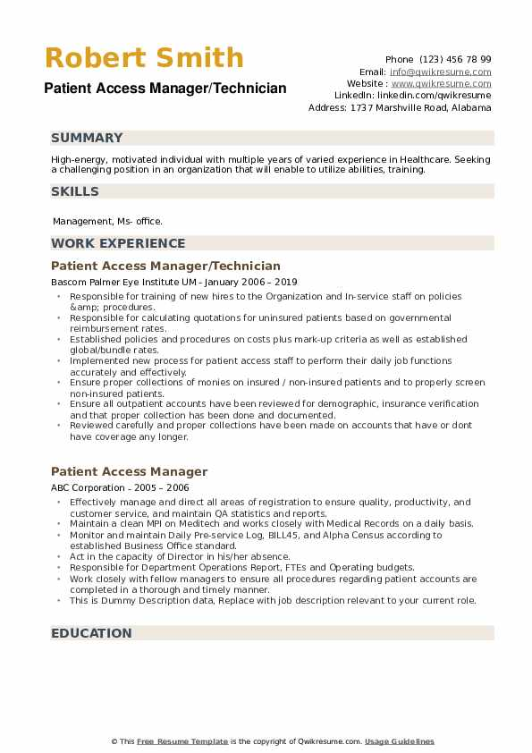 Patient Access Manager/Technician Resume Template