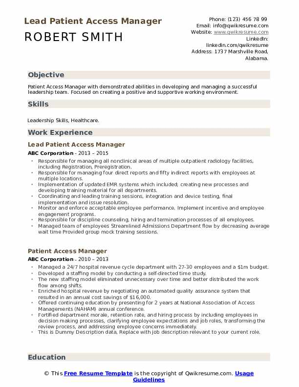 Lead Patient Access Manager Resume Example