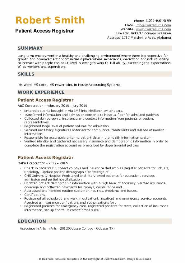 Patient Access Registrar Resume example