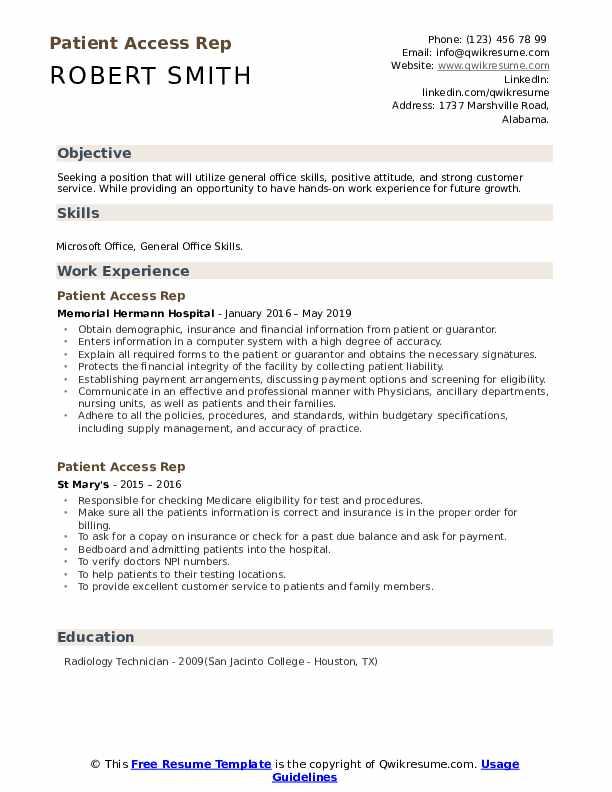 Patient Access Rep Resume Format