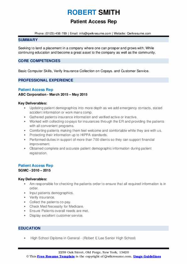 Patient Access Rep Resume Example