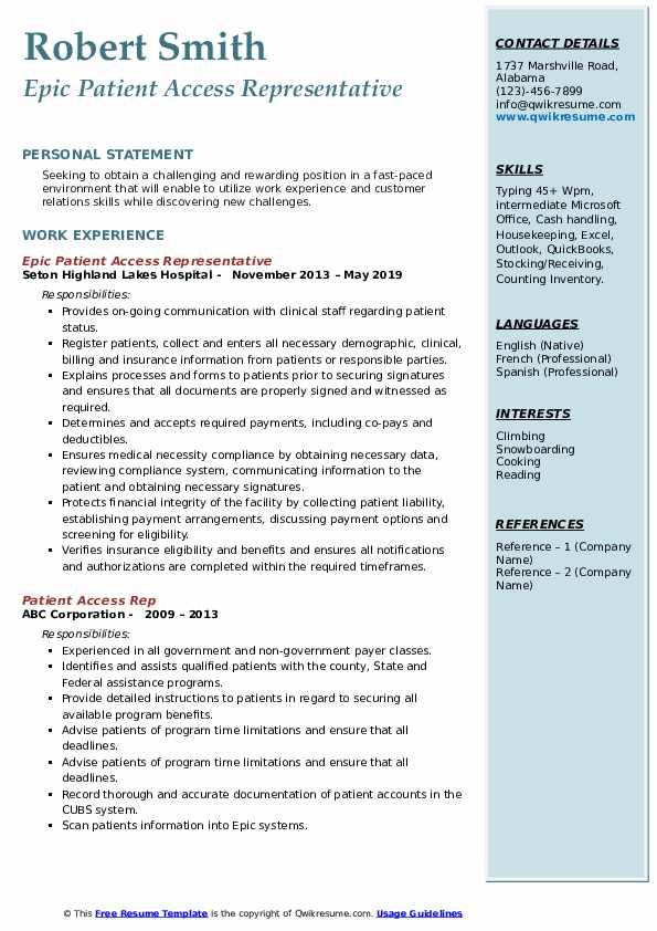 Epic Patient Access Representative Resume Format