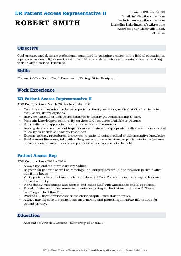 ER Patient Access Representative II Resume Sample