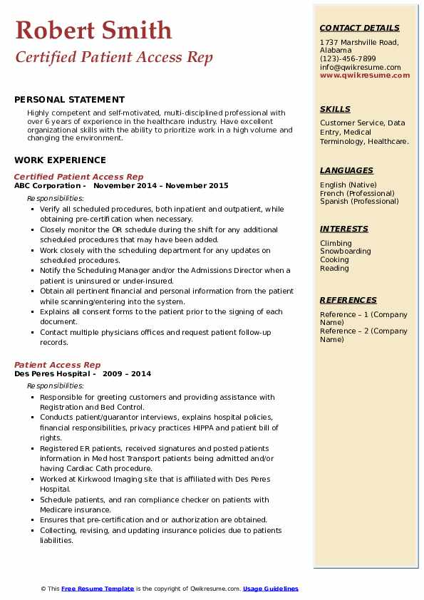 Certified Patient Access Rep Resume Format