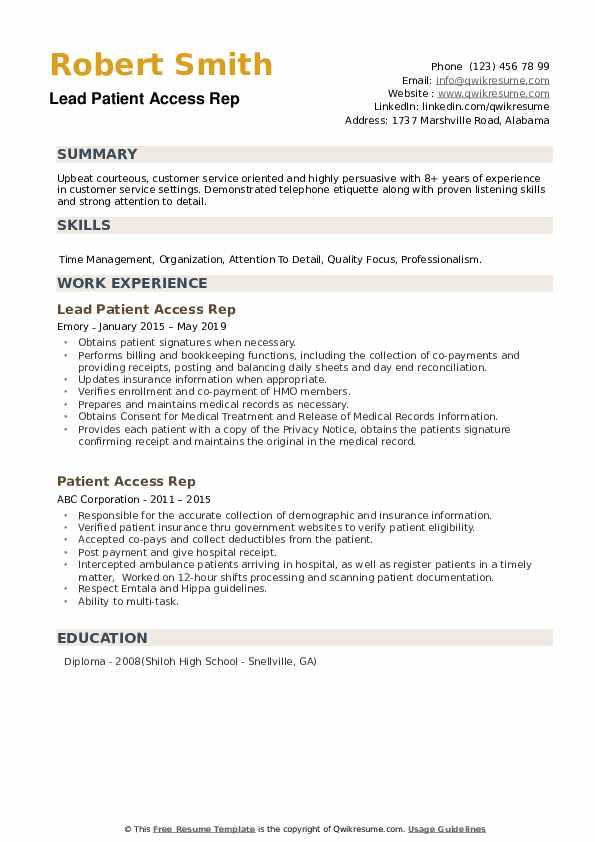 Lead Patient Access Rep Resume Format