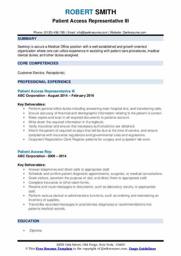 Patient Access Representative III Resume Example