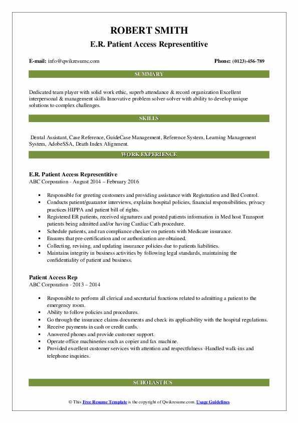 E.R. Patient Access Representitive Resume Template