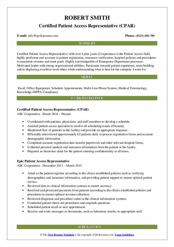 Certified Patient Access Representative (CPAR) Resume Example
