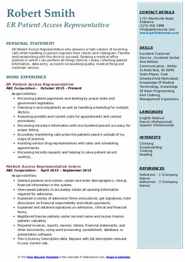 patient access representative resume samples  qwikresume