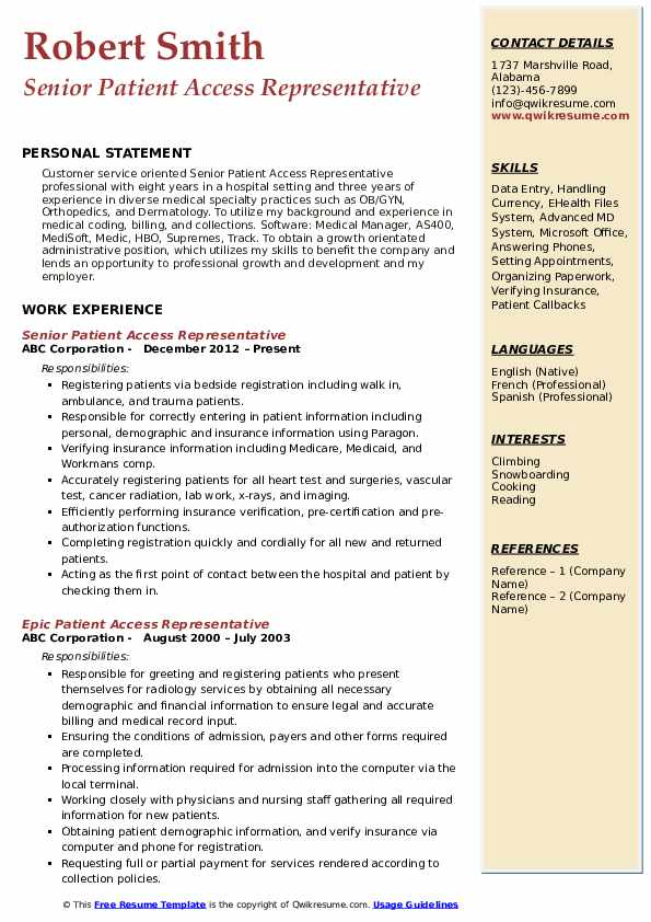 patient access representative resume samples