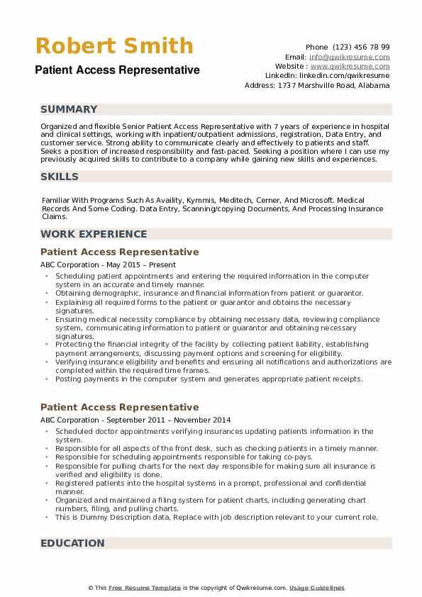 patient access representative resume samples