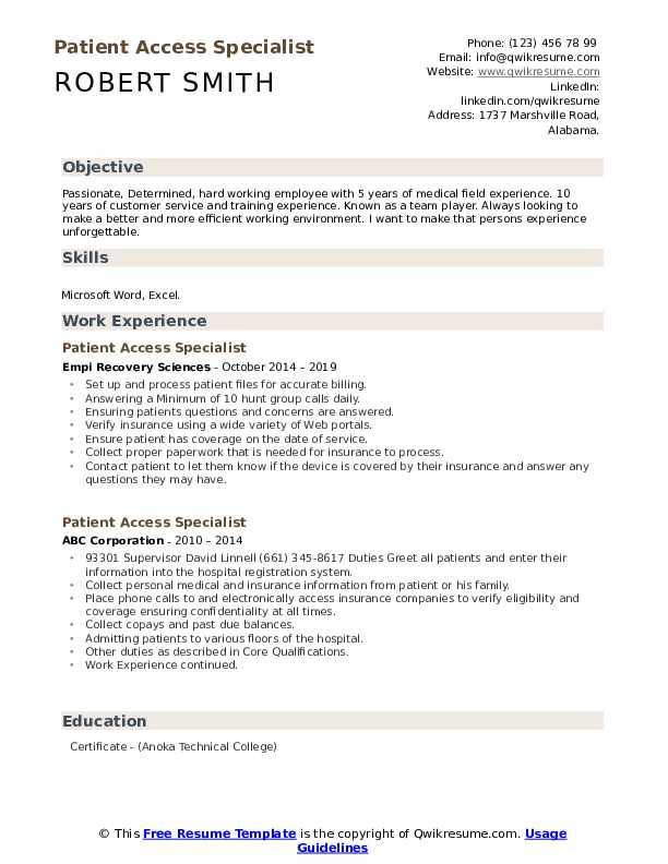 Patient Access Specialist Resume Template