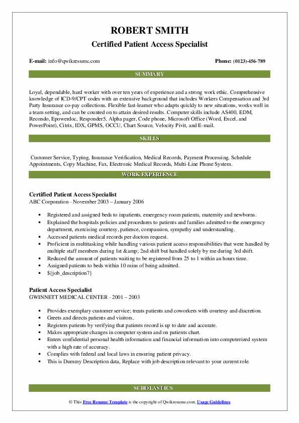 Certified Patient Access Specialist Resume Sample