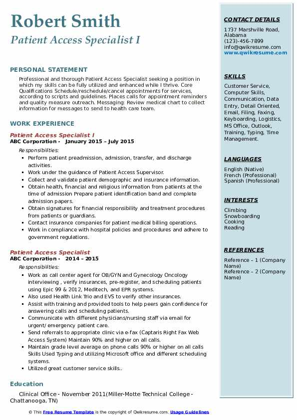 Patient Access Specialist I Resume Model
