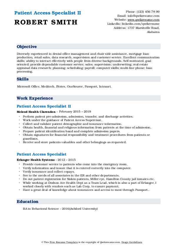 Patient Access Specialist II Resume Example