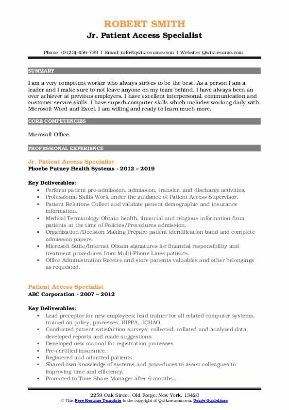 Jr. Patient Access Specialist Resume Sample