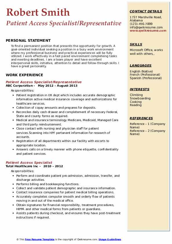 Patient Access Specialist/Representative Resume Template