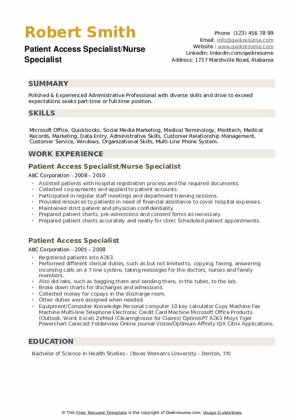 patient access specialist resume samples