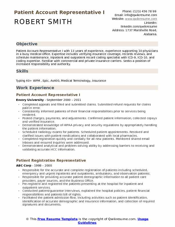 Patient Account Representative I Resume Model