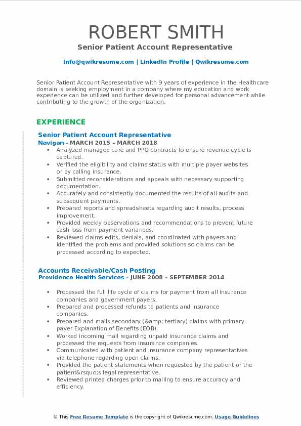 Patient Account Representative Resume Samples Qwikresume