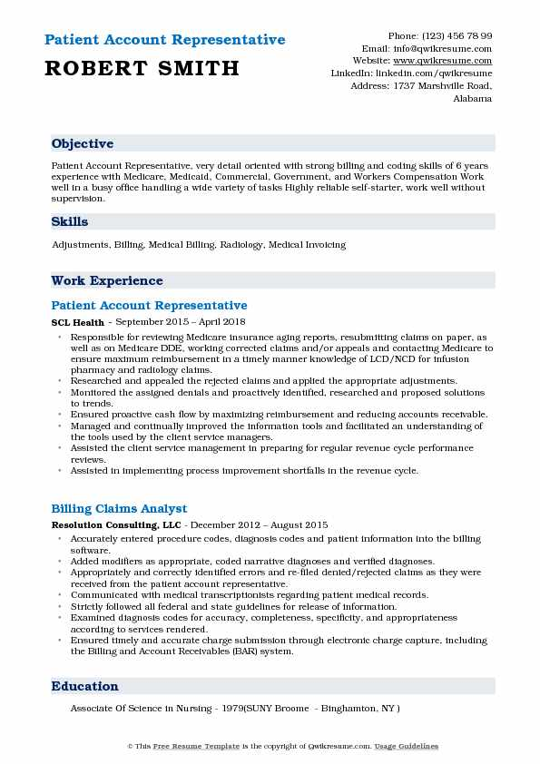 patient account representative resume samples