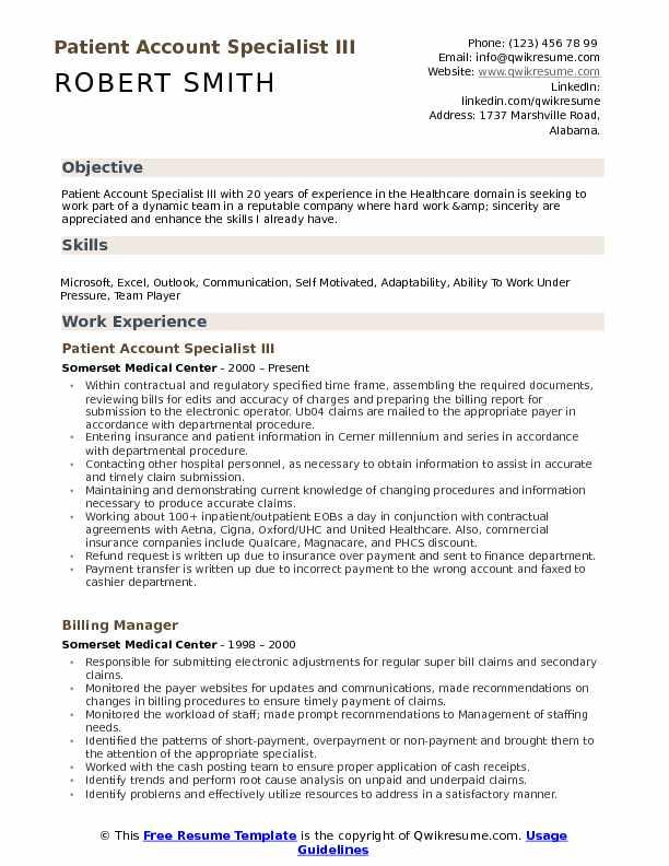Patient Account Specialist III Resume Sample