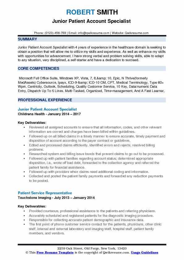 Junior Patient Account Specialist  Resume Sample