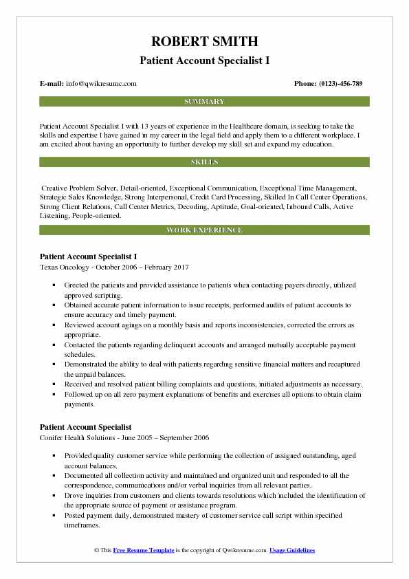 Patient Account Specialist I Resume Template