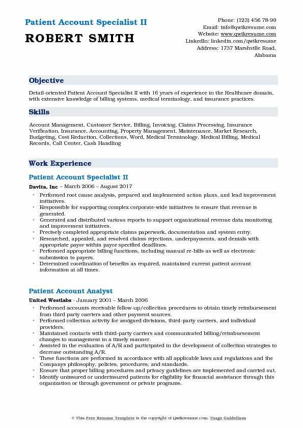 Patient Account Specialist II Resume Format