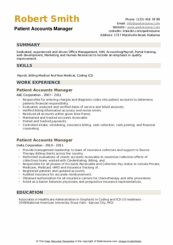 Patient Accounts Manager Resume example