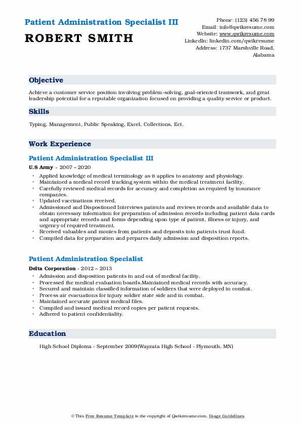 patient administration specialist resume samples