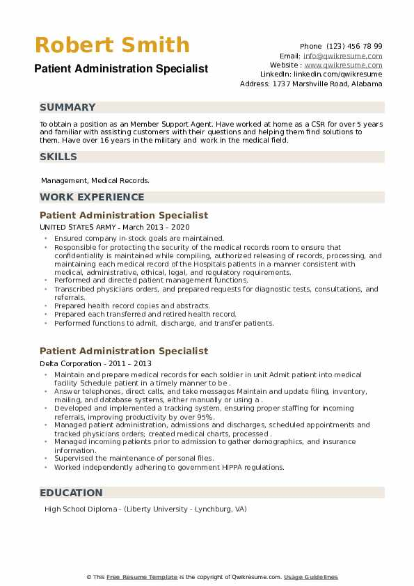 Patient Administration Specialist Resume example