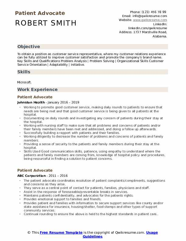 Patient Advocate Resume Model
