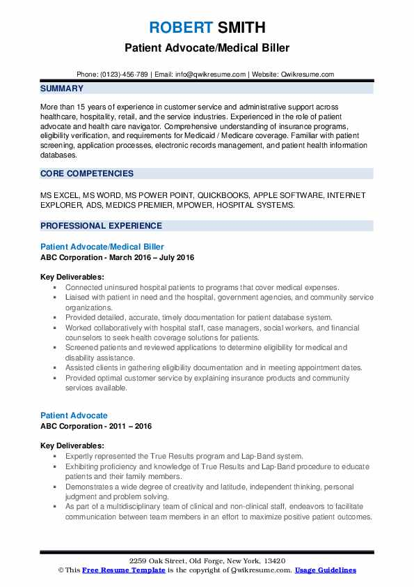 Patient Advocate/Medical Biller Resume Template