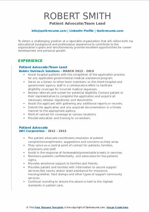 Patient Advocate/Team Lead Resume Sample