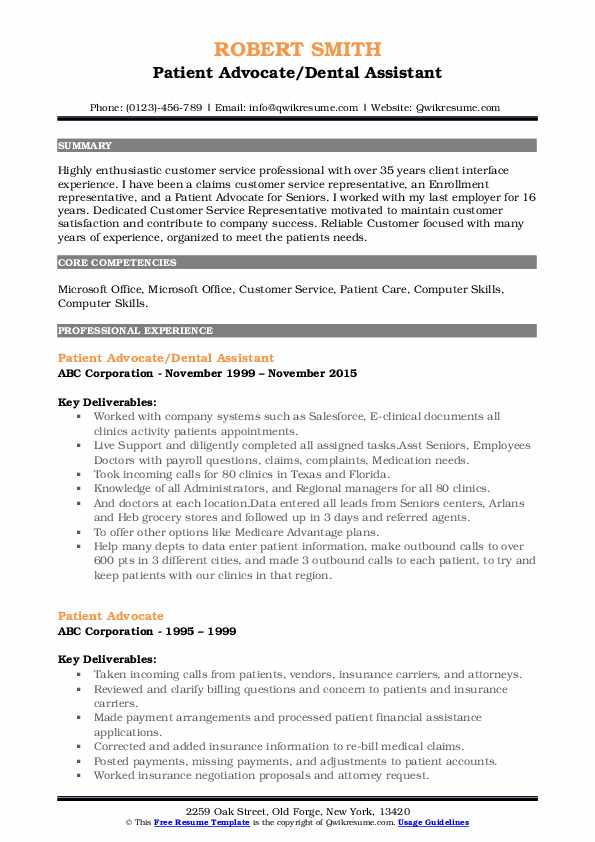 Patient Advocate/Dental Assistant Resume Format