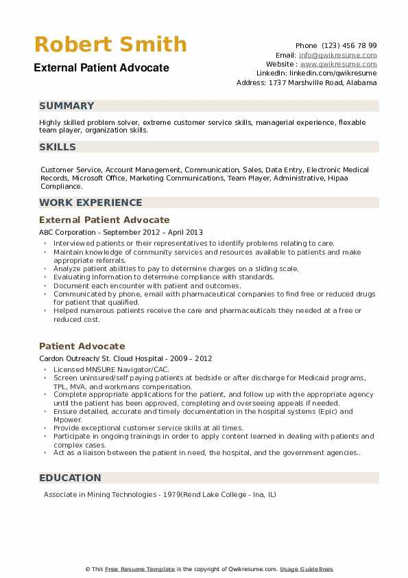 External Patient Advocate Resume Sample