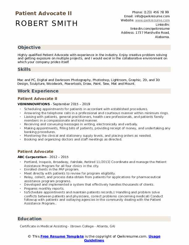 Patient Advocate II Resume Sample