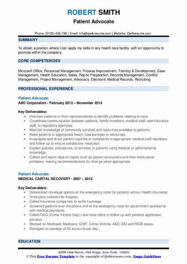 Patient Advocate Resume Sample