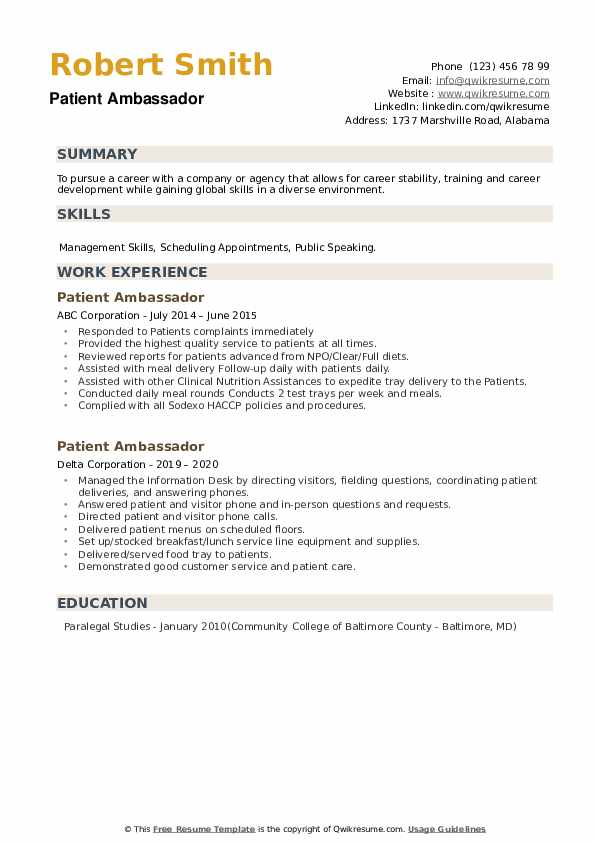 Patient Ambassador Resume example