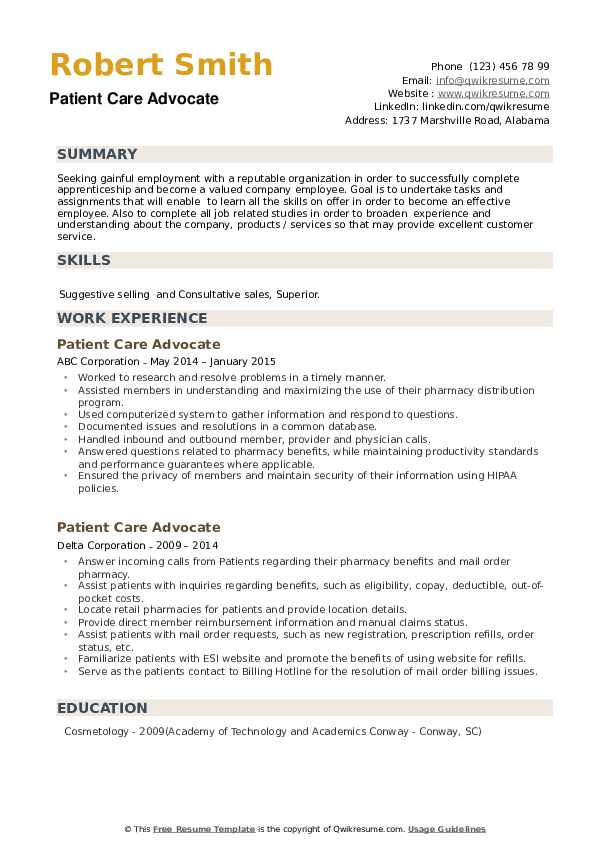 Patient Care Advocate Resume example