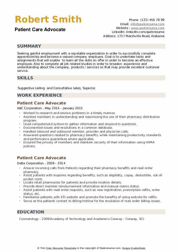 Patient Care Advocate Resume example