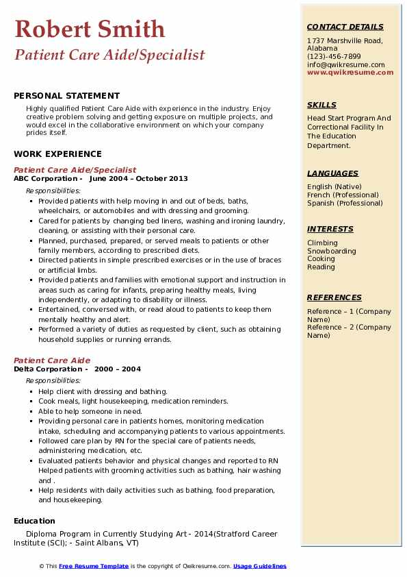 patient care aide resume samples  qwikresume