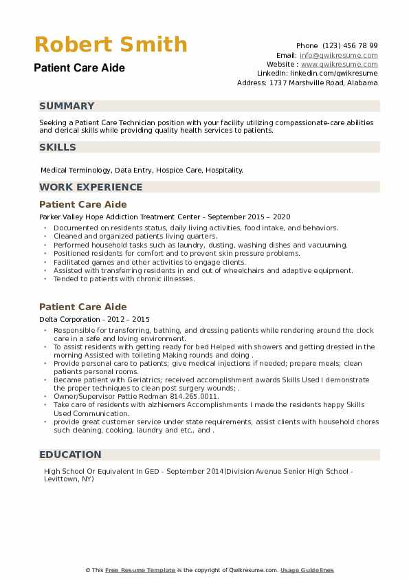 Patient Care Aide Resume example