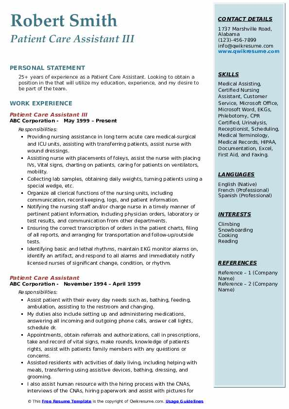 Patient Care Assistant Resume Samples Qwikresume
