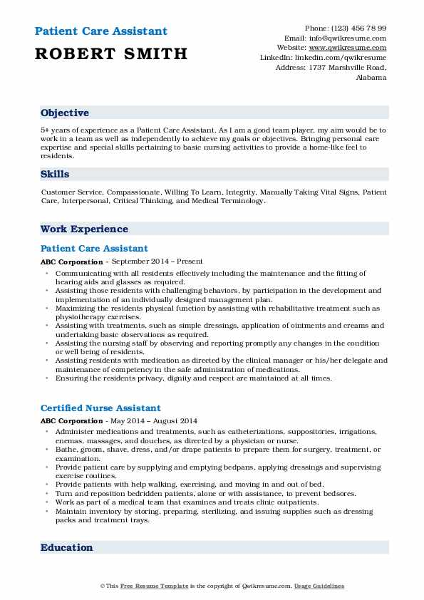 Patient Care Assistant Resume Model