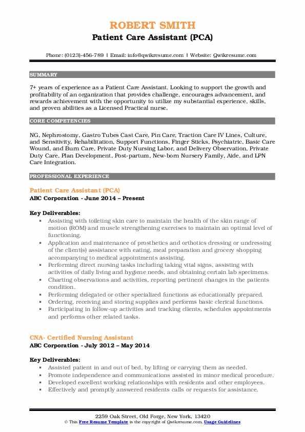 Patient Care Assistant (PCA) Resume Format