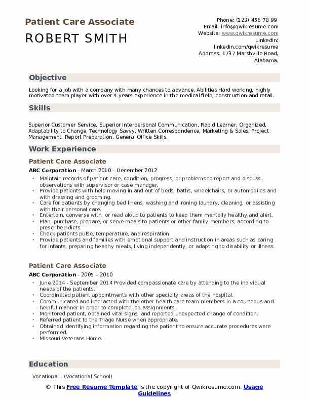 Patient Care Associate Resume Example