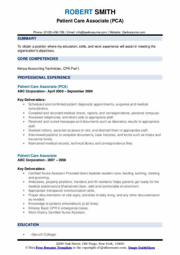 Patient Care Associate (PCA) Resume Template