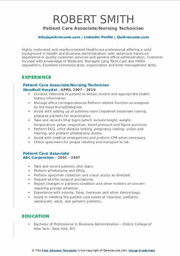 Patient Care Associate/Nursing Technician Resume Template